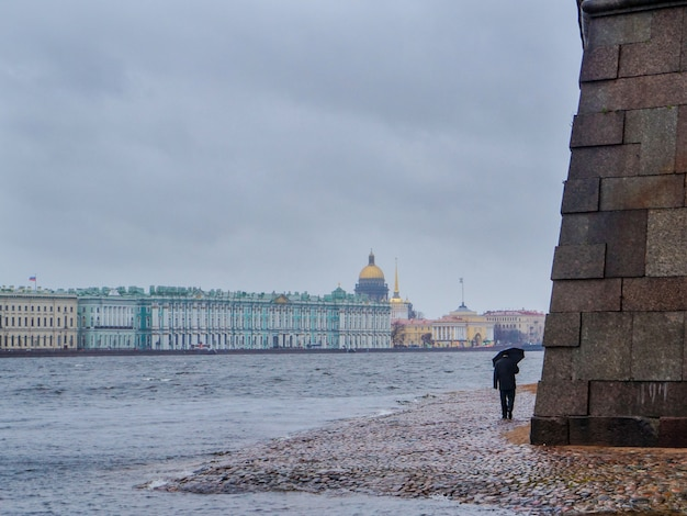 L'uomo con l'ombrello in una giornata piovosa