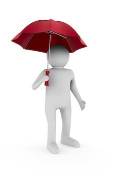 Uomo con ombrello su sfondo bianco. illustrazione 3d isolata
