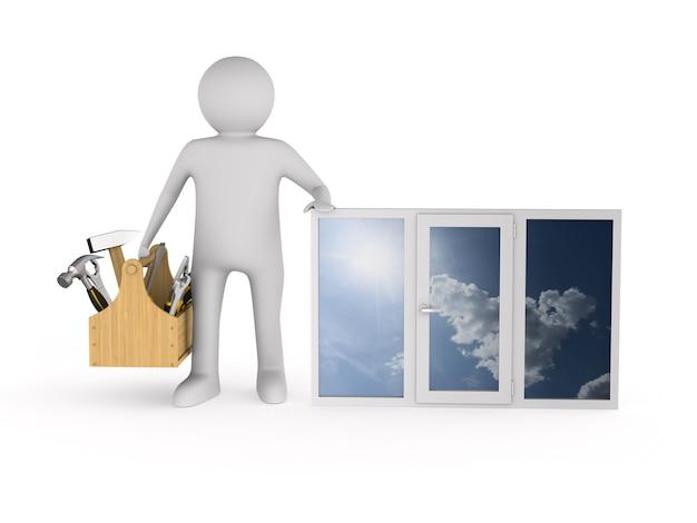Uomo con finestra su uno spazio bianco. illustrazione 3d isolata