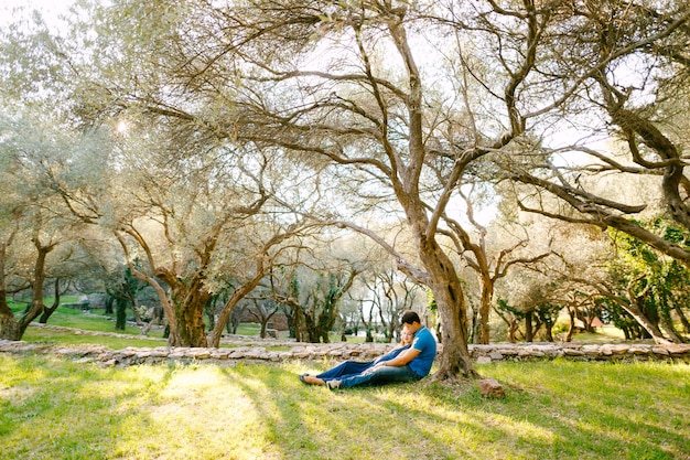 Un uomo con una donna in un lungo abito blu giace sull'erba sotto un tentacolare ulivo