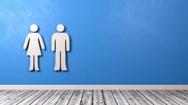 Simbolo della donna e dell'uomo sulla parete blu