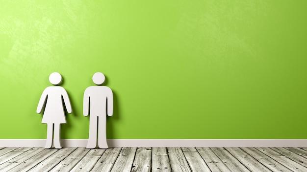 Simbolo della donna e dell'uomo sul pavimento di legno contro il muro
