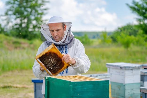Uomo che lavora in apiario. indumenti protettivi. apicoltura. concetto di apicoltura.