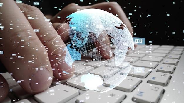 Uomo che lavora al computer con grafica della modernizzazione della codifica matematica mathematics