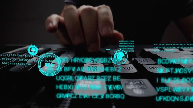Uomo che lavora alla tastiera del computer portatile con ologramma gui dell'interfaccia utente grafica