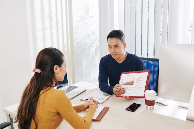 Manager che mostra il documento con i dati di vendita