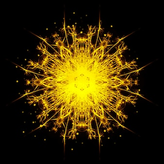Mandala di sparkler ardente su sfondo nero