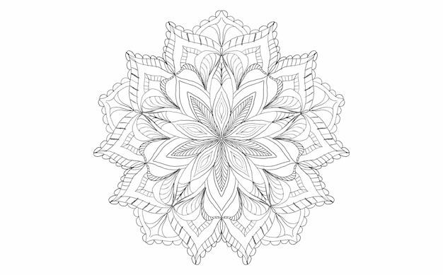 Mandala libro da colorare disegnato a mano stampa antistress ornamento stile folk vintage retrò