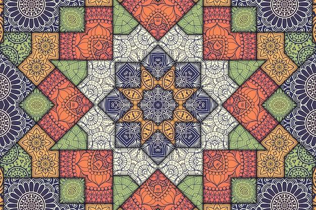 Motivo floreale con motivo a piastrelle mandala, immagine geometrica di piastrelle dipinte, motivo arabo in stile marocchino.