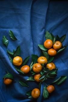 Mandarino su sfondo blu scuro
