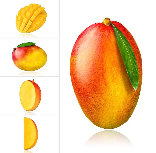 Frutto di mango pezzo di mango fetta collage di foto insieme