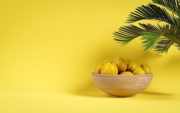 Mango fruit yellow in un cestino. copia spazio. grafica 3d