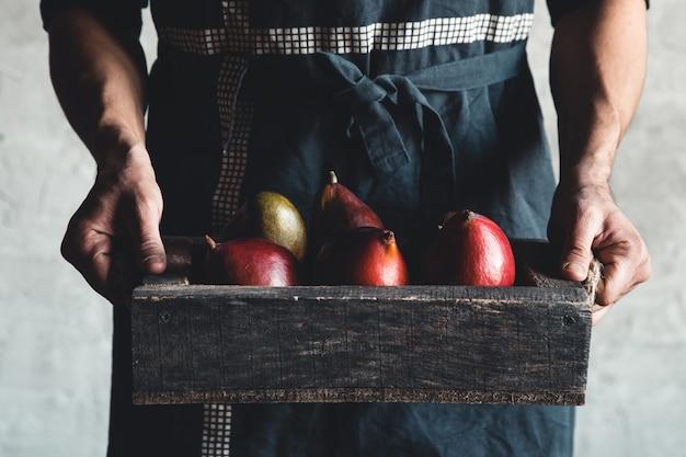 Mucchio di mango nel cestino di legno che trasporta da un coltivatore di frutteto