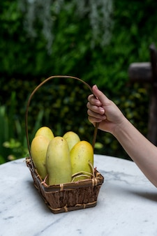 Frutta tropicale del mango in cestino di legno