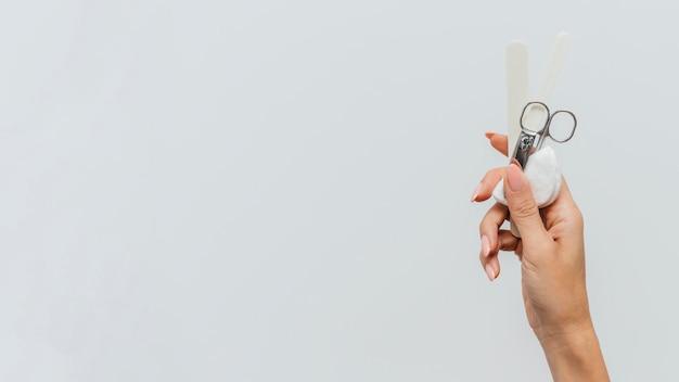 Manicure cura sana copia spazio