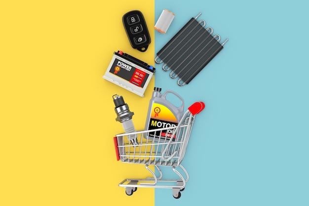 Molti pezzi di ricambio per automobili che cadono nel carrello su uno sfondo giallo e blu. rendering 3d