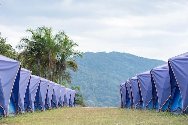 Molte tende blu allineate sul prato montagne e cielo.