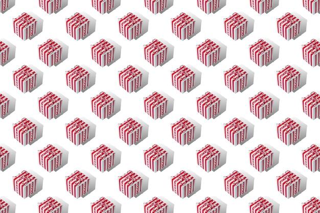 Molti regali di natale su sfondo bianco pattern isolano