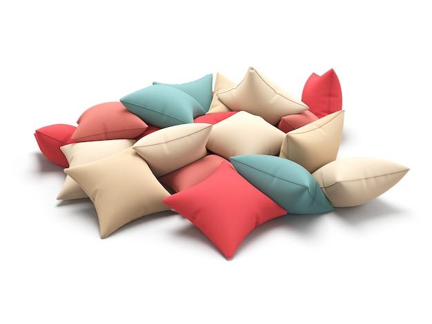 Molti cuscini di colore isolati su sfondo bianco. illustrazione 3d