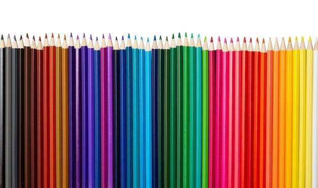 Molte matite colorate in una riga isolata su sfondo bianco.