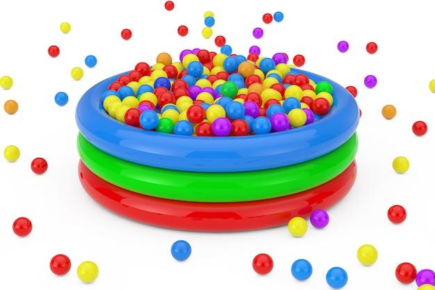 Molte palline di plastica colorate caddero e riempirono la piscina per bambini su uno sfondo bianco. rendering 3d