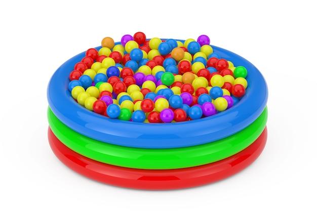 Molte palline di plastica colorate hanno riempito la piscina per bambini su uno sfondo bianco. rendering 3d