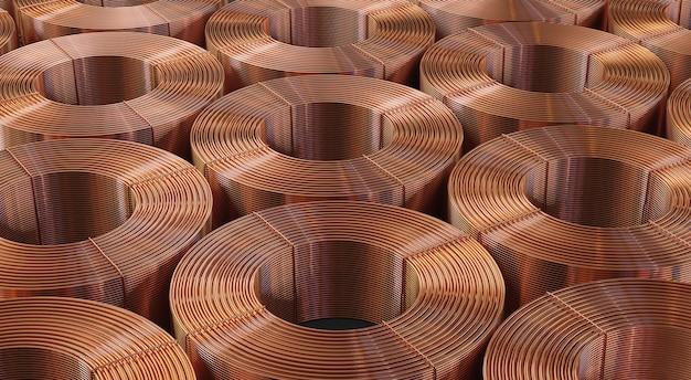 Molti sfondo di bobine di rame