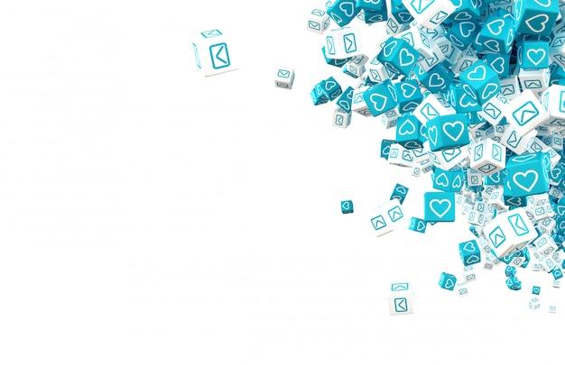 Molti cubi con i simboli della comunicazione nell'illustrazione dei social network 3d