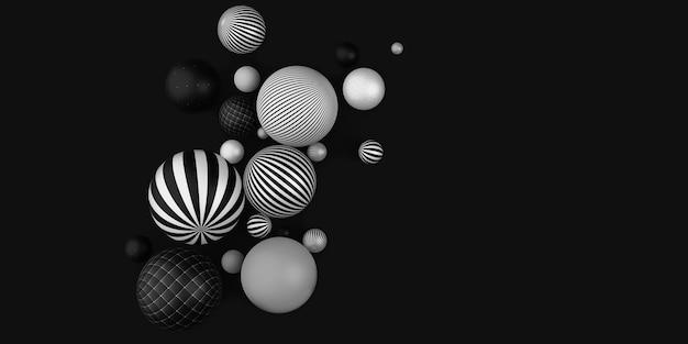 Molte palline decorative illustrazione 3d a strisce orizzontali in bianco e nero