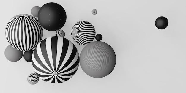 Molte palline decorative illustrazione 3d in bianco e nero a strisce orizzontali