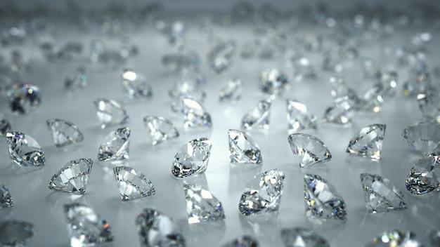 Molti diamanti su uno sfondo bianco