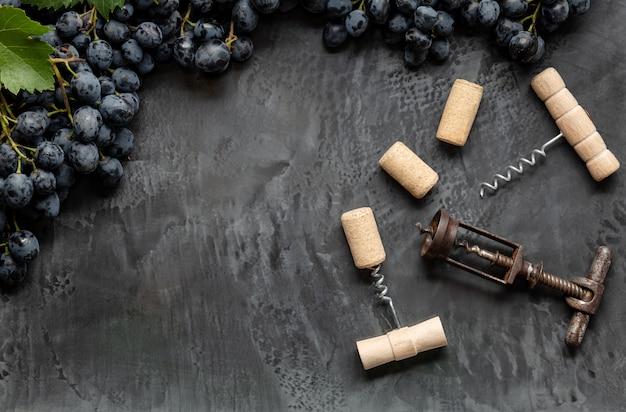 Molti diversi cavatappi con tappi per vino aperti su sfondo di cemento scuro in cornice fatta di uva nera con spazio di copia. degustazione degustazione di vini da bere. enoteca o ristorante.