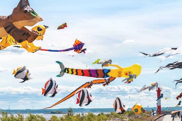 Molti aquiloni diversi stanno volando nel cielo