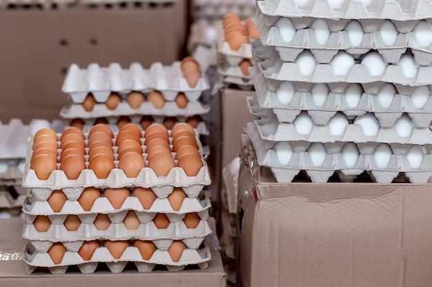 Molte uova fresche di allevamento di polli nella confezione