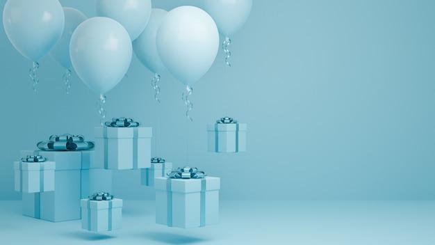 Molti scatola regalo volano in aria con palloncino e sfondo pastello nastro blu.