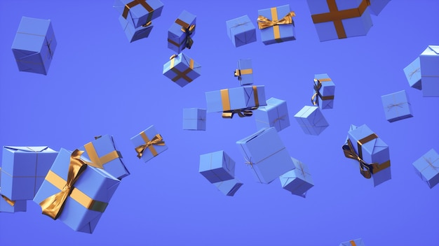 Molti regali in volo sfondo festivo in rendering 3d tinta blu