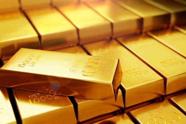 Molti lingotti d'oro o illustrazione 3d lingotto