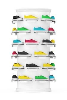 Molte scarpe da ginnastica multicolore mostra sullo scaffale in vendita nel negozio di moda su sfondo bianco. rendering 3d
