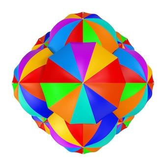 Molti ombrelli multicolori come sfera su sfondo bianco. rendering 3d