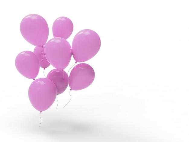 Molti palloncini rosa con spazio vuoto