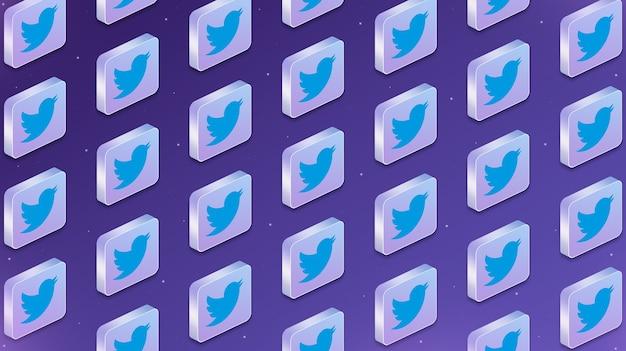 Molte piattaforme con icone logo social network twitter 3d
