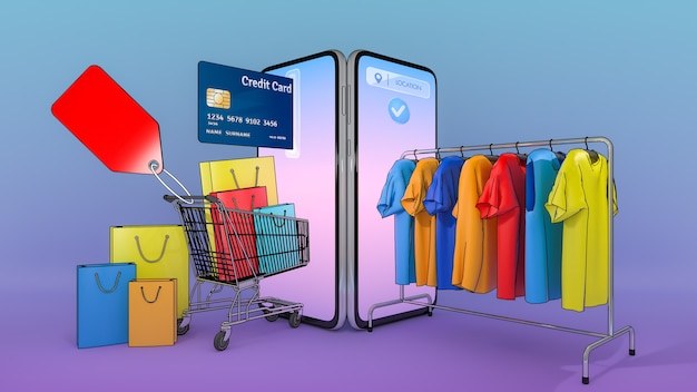 Molte borse della spesa e cartellini del prezzo in un carrello della spesa e vestiti su una gruccia sono apparsi dallo schermo dello smartphone