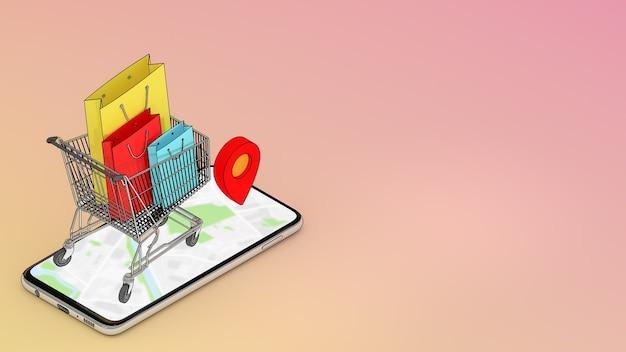 Molte borse della spesa in un carrello della spesa con la posizione del puntatore rosso sono apparse dallo schermo dello smartphone, dallo shopping online o dal concetto di shopping, rendering 3d.