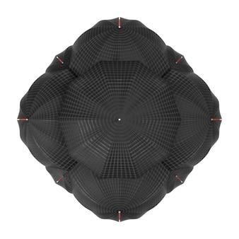 Molti ombrelli come sfera su sfondo bianco. rendering 3d