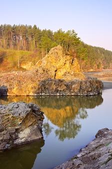 Rapide di manzherok nei monti altai pini sulle rive rocciose del fiume katun