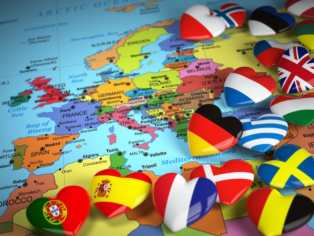 Mappa dell'europa e dei cuori con le bandiere dei paesi europei 3d