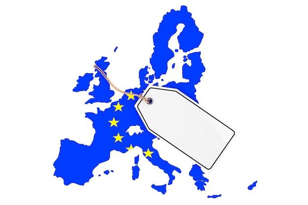 Mappa dell'europa con bandiera e tag vendita vuoto su sfondo bianco. rendering 3d
