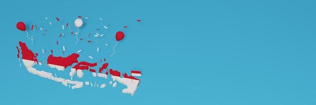 Mappa dell'indonesia per i social media e la copertina del sito web per celebrare la giornata nazionale dello shopping e il giorno dell'indipendenza nazionale nel rendering 3d