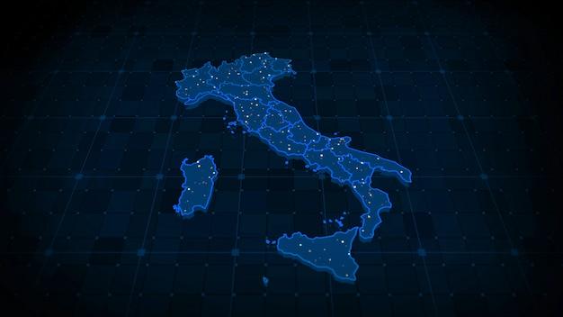 Mappa d'italia illuminata in stile grafico