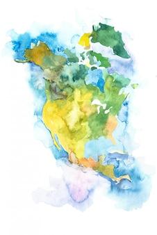 Mappa del nord america, stati uniti e canada